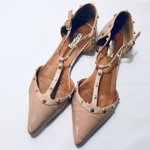 Halogen Gold Studded T-Strap Nude Leather Flats
